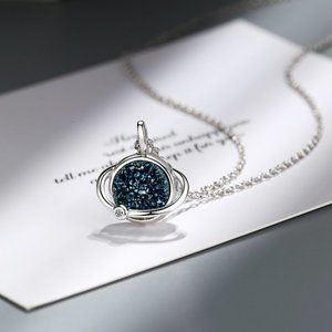 Jewelry - NEW 925 Sterling Silver Druzy Planet Necklace